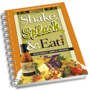 Photo of the book cover for Vigoa Cuisine's Shake, Splash & Eat! book by Kristi Linebaugh and Miriam Vigoa