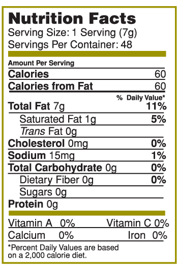 Nutrition Facts Label for Canary Island Garlic & Herb Splash