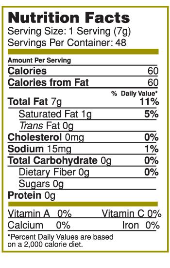 Nutrition Facts Label for Canary Island Garlic & Herb Splash