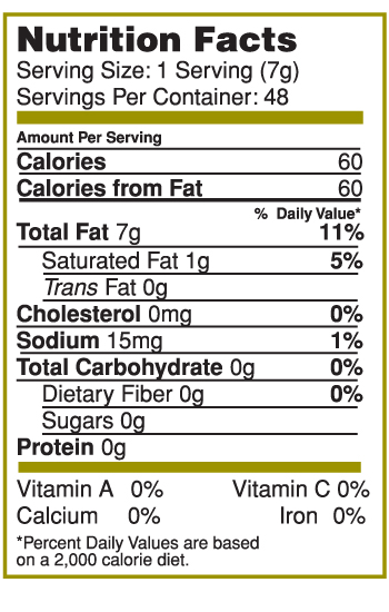 Nutrition Facts Label for Canary Island Garlic & Herb Lime Splash